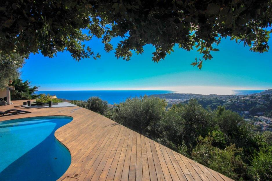 View of the Mediterranean Sea from Villa in Menton, French Riviera