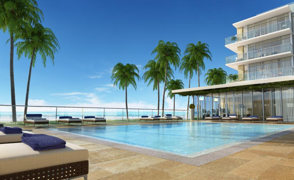 Beachfront pool Florida luxury condo building
