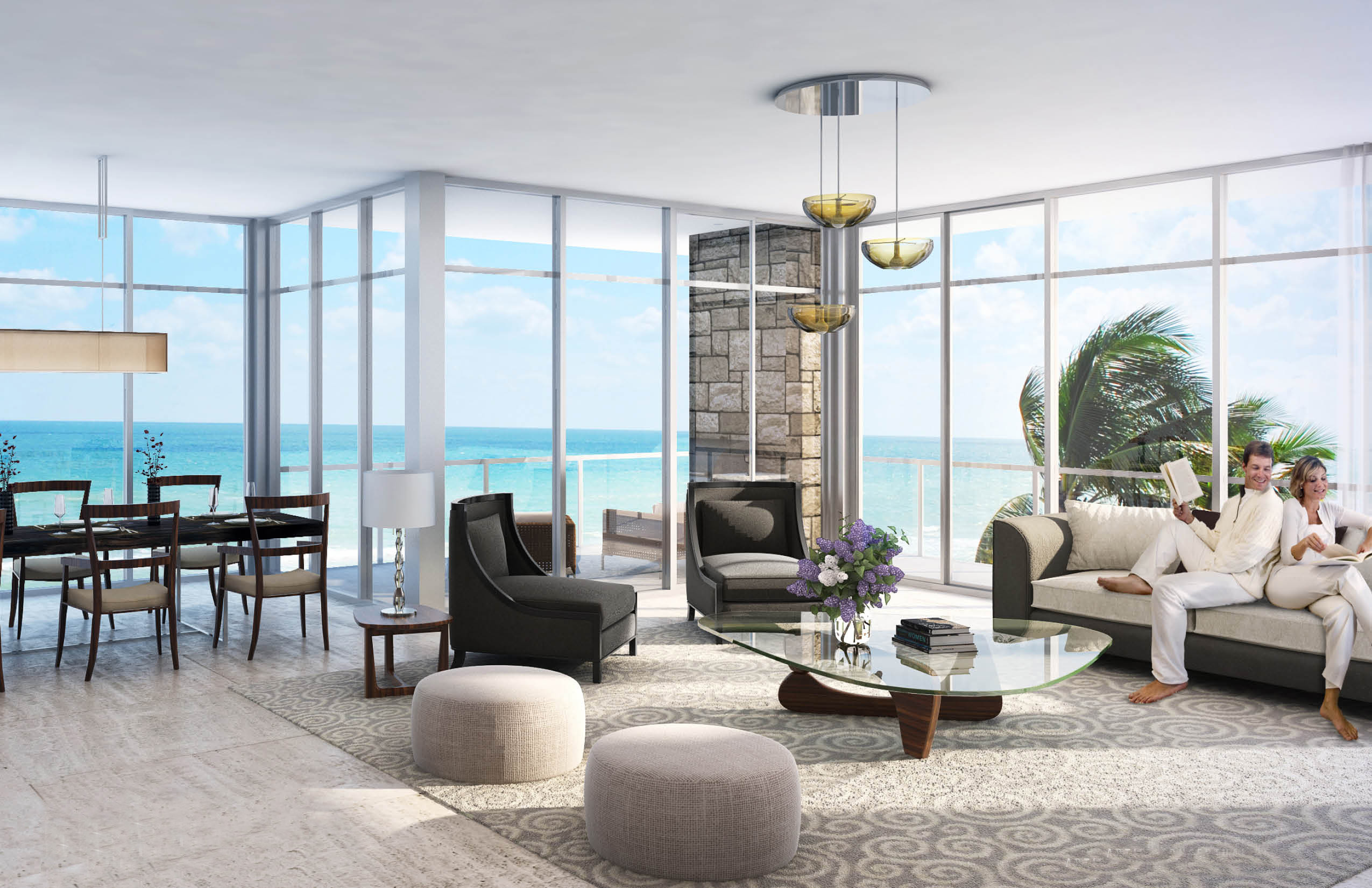 Living room with views over Atlantic Ocean Florida