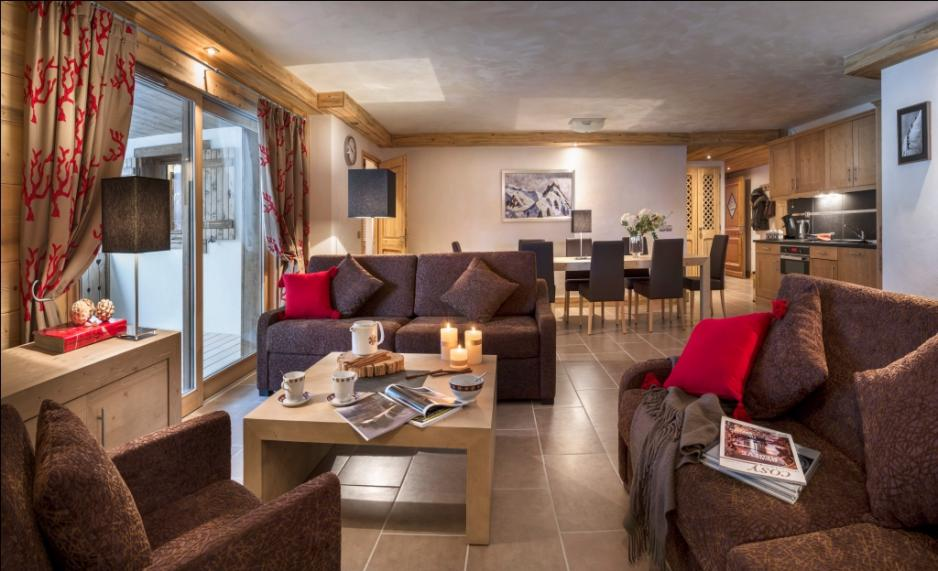 Living room, ski apartment in Chatel