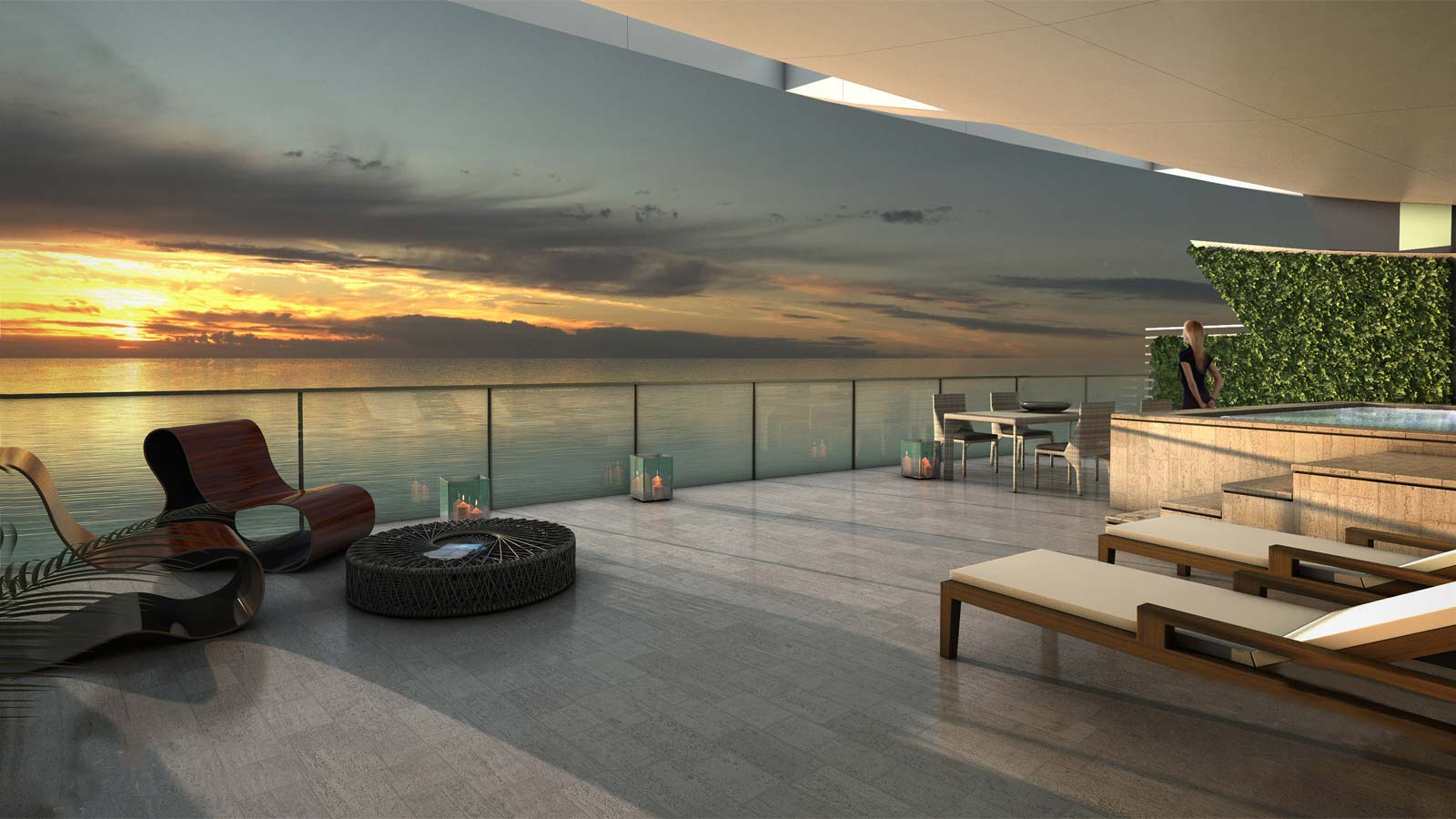 Roof terrace overlooking the sea in Florida