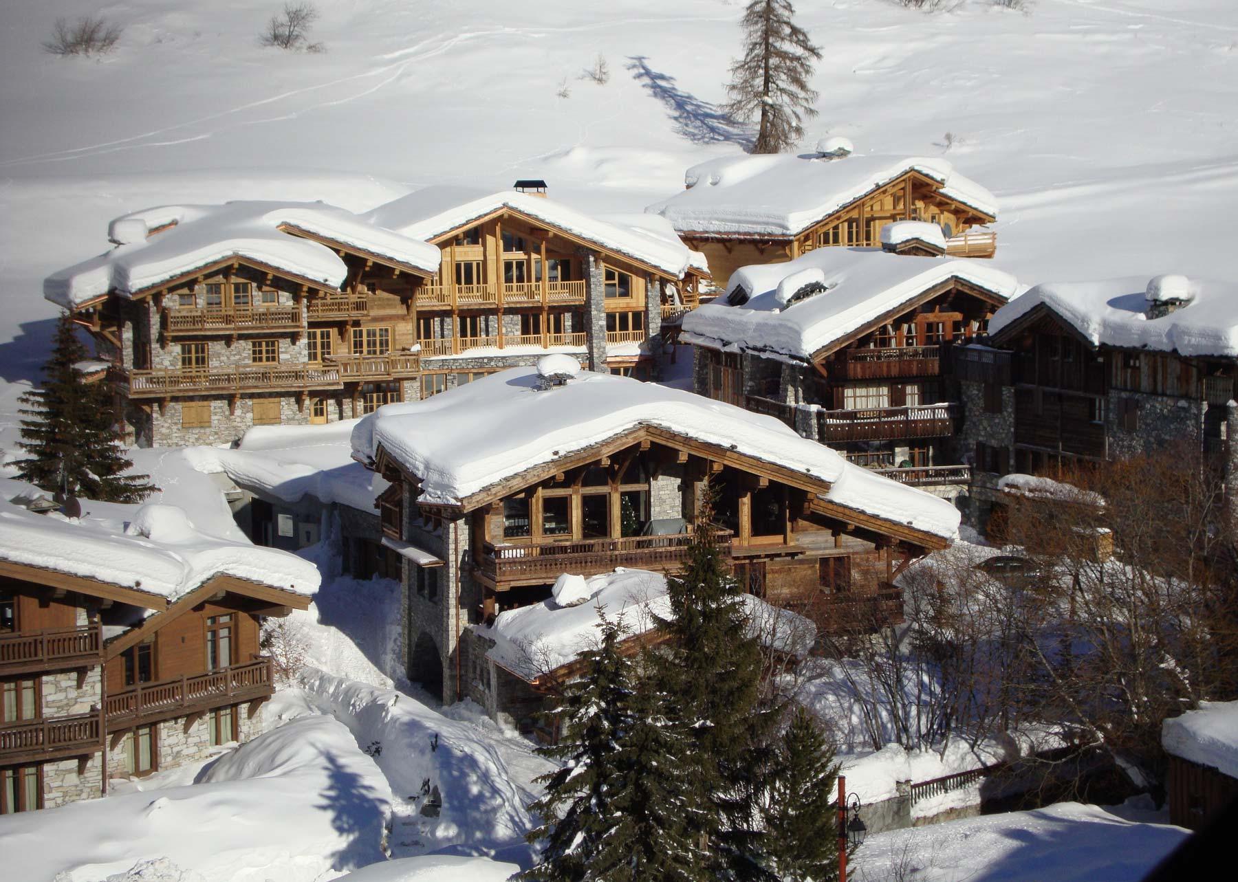 Aerial of ski chalets Val d'Isere
