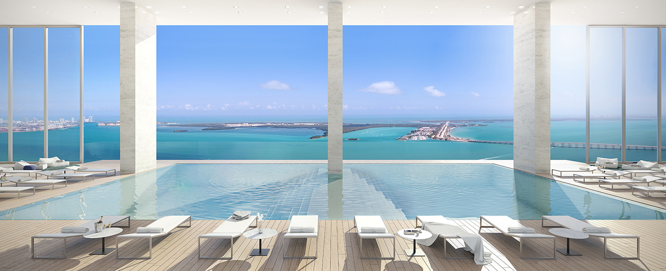 Rooftop pool overlooking the sea Miami Florida