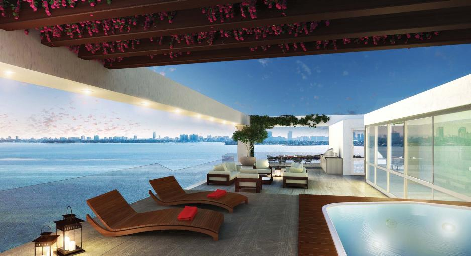 Roof terrace Miami waterfront apartment