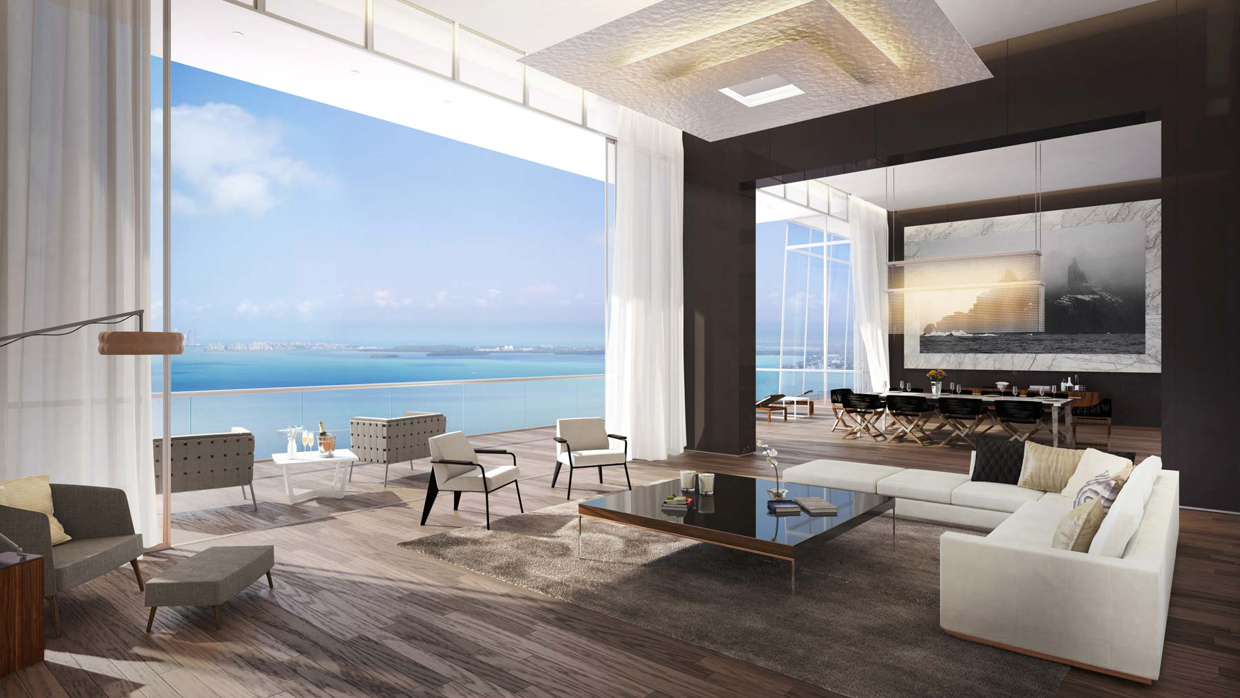 Reception room opening out to large terrace Miami Florida
