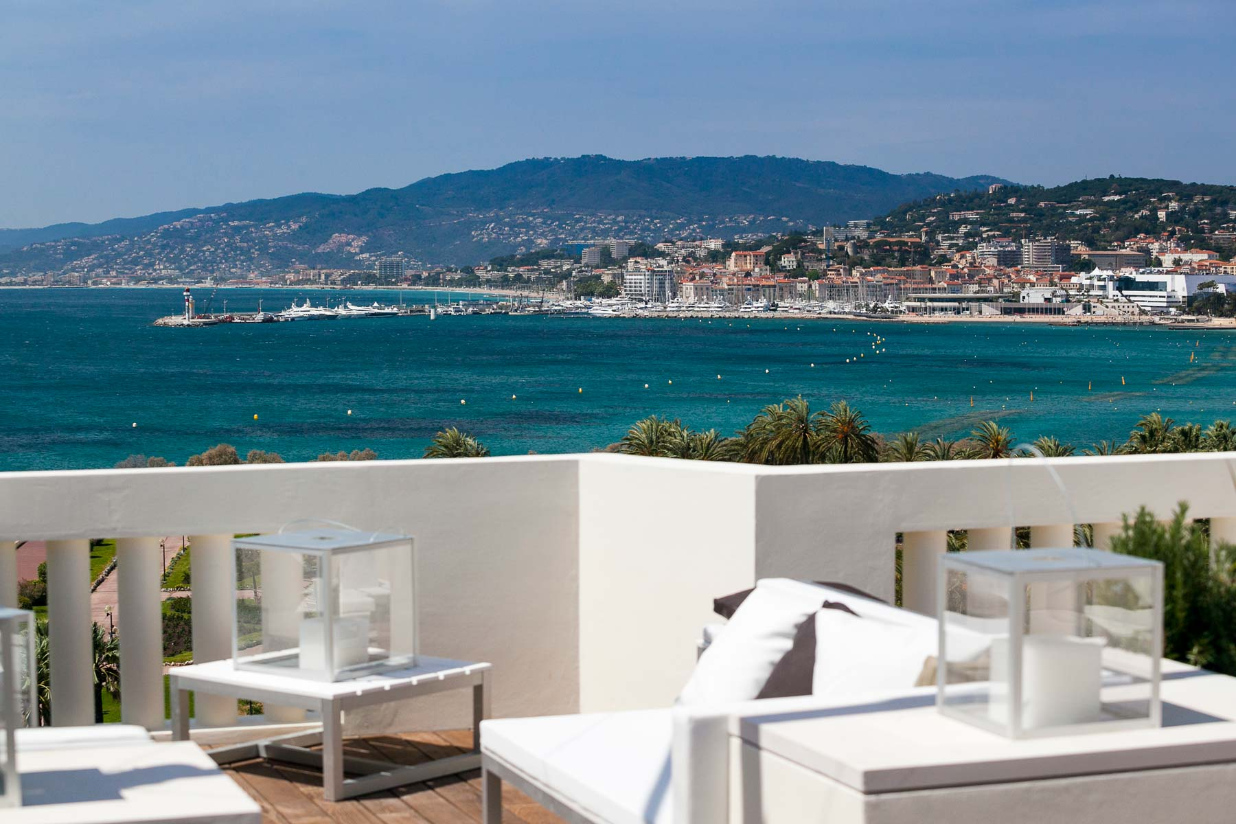 View from penthouse roof terrace Cannes