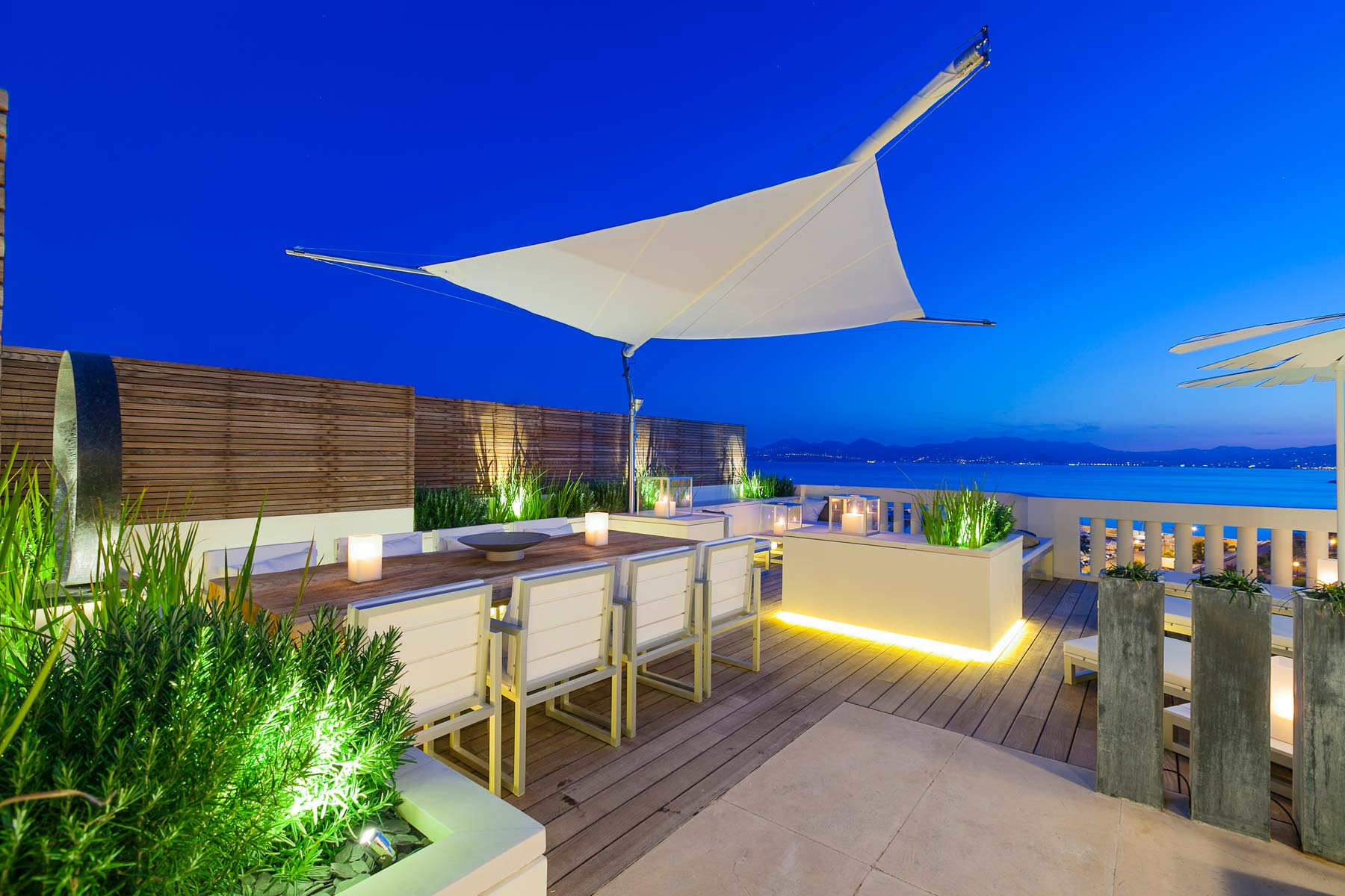 Roof terrace at dusk, Canner French Riviera