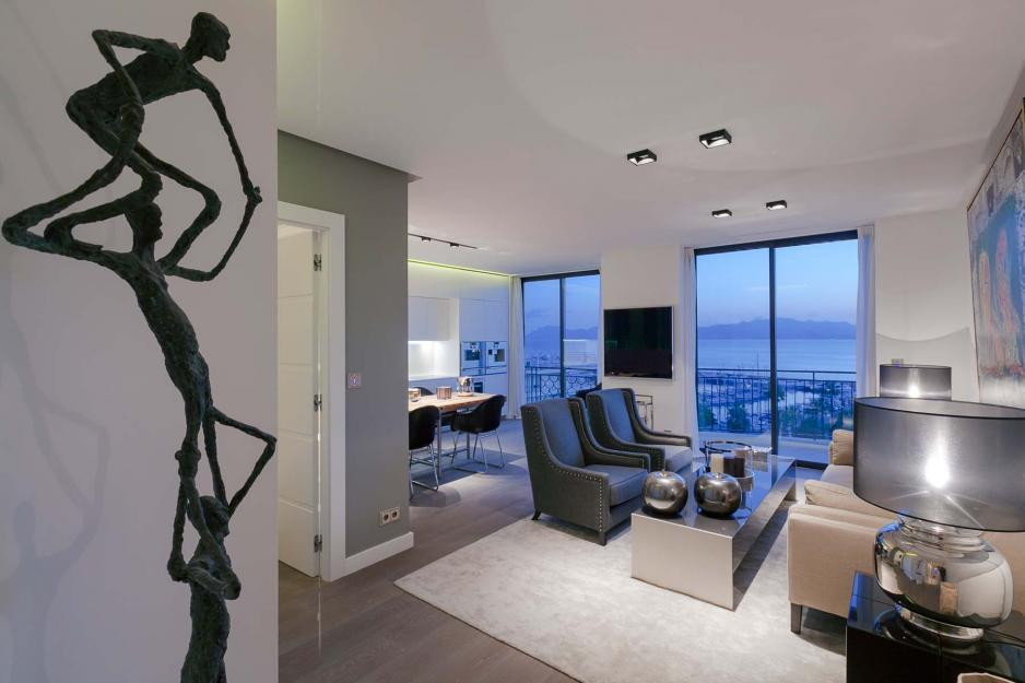 Living room with view over the Mediterranean Sea, Cannes France