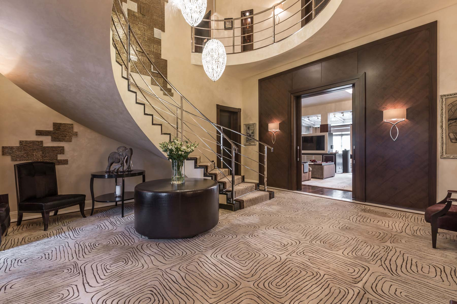 Entrance hall with sweeping staircase Warsaw