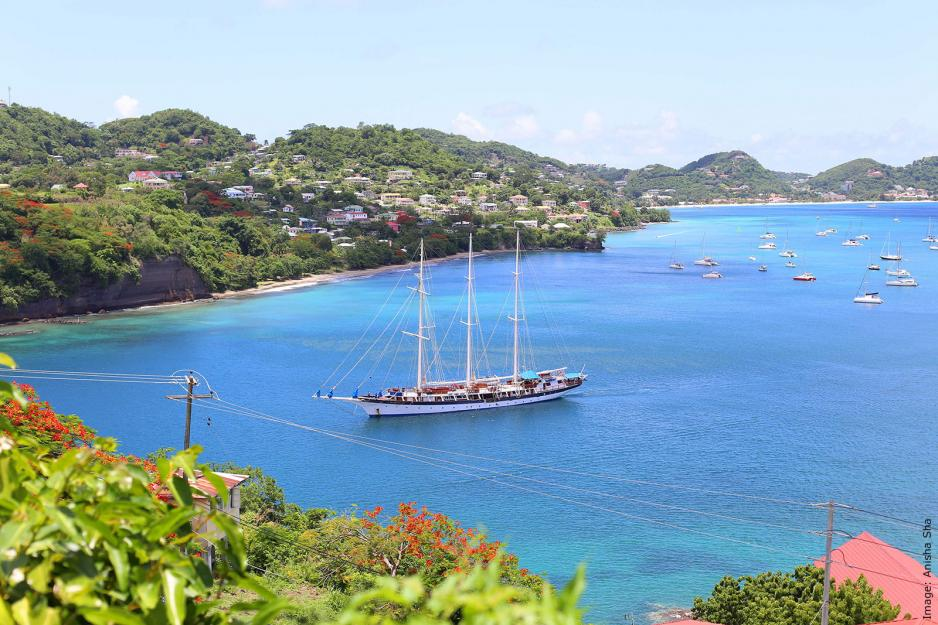 Huge sailing boat outside Fort George Grenada