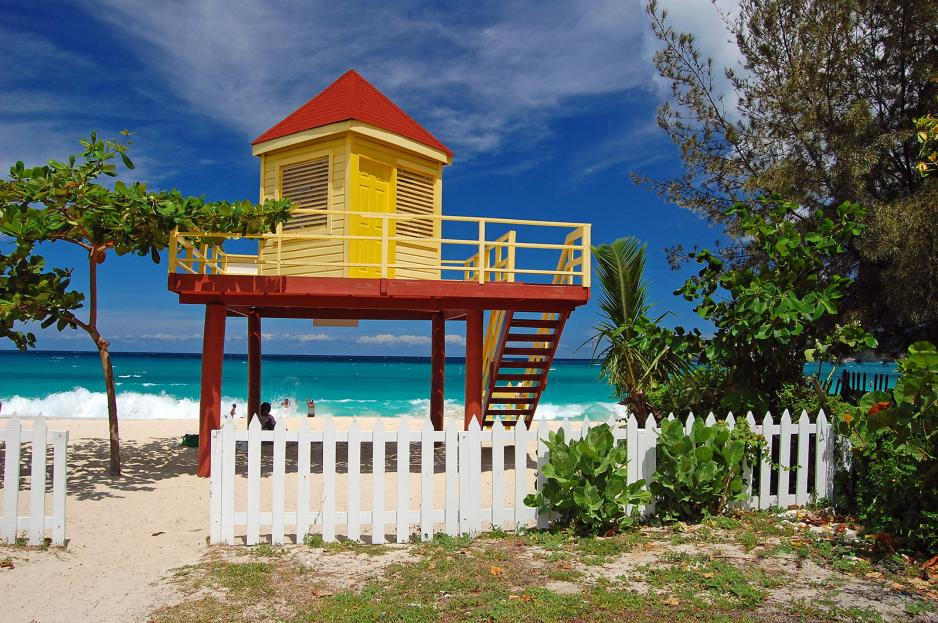 Life guard tower on Caribbean beach