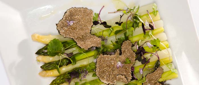 Chilled Green and White Asparagus Salad with Black Truffle Vinaigrette