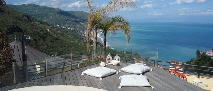 View from penthouse terrace, Taormina, Sicily