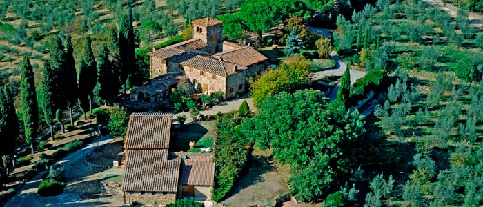 Aerial of wine estate in Tuscany