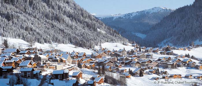 Aerial view of the village of Chatel in the French Alps