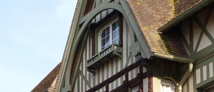 Detail of traditional house in Deauville, France