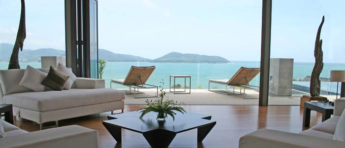 View over the sea from villa terrace in Thailand