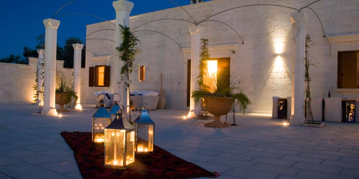 Villa terrace in Basilicata during the night