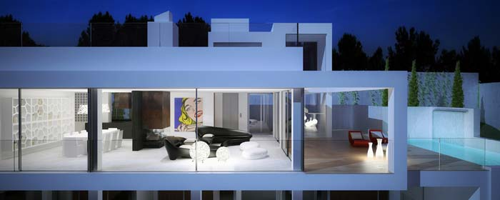 Properties for sale ibiza modern contemporary villa for Modern minimalist villa