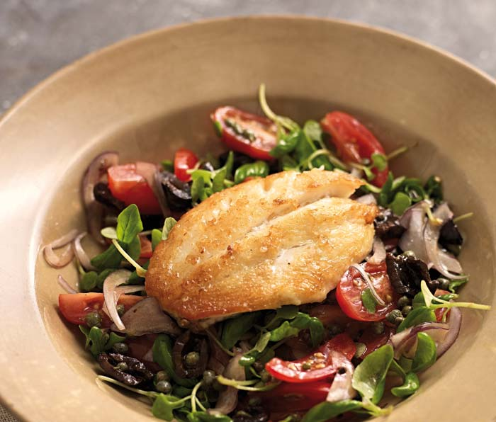 JOHN DORY with CAPER, BLACK OLIVE and VINE TOMATO SALAD