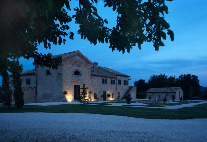 Evening shot of Country estate in Le Marche Italy