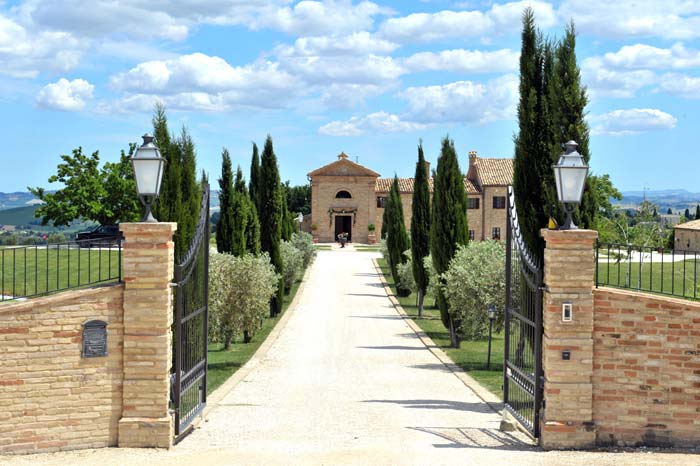 Entrance to country estate in Le Marche Italy