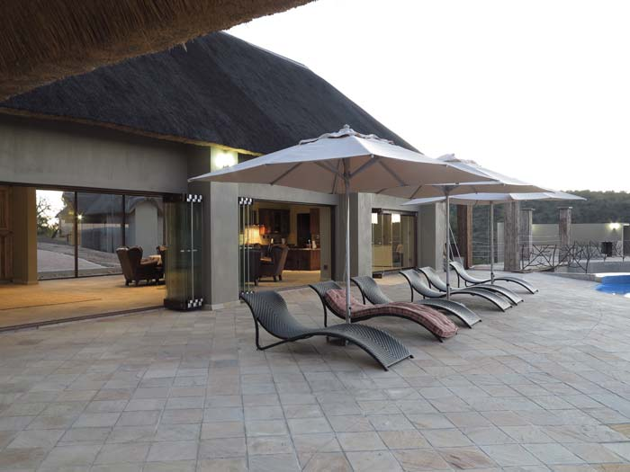 Lounge terrace at game lodge in South Africa
