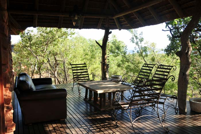 Outdoor dining area at private game lodge in South Africa
