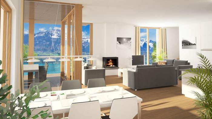 Alpine apartments in Bernese Oberland in Switzerland