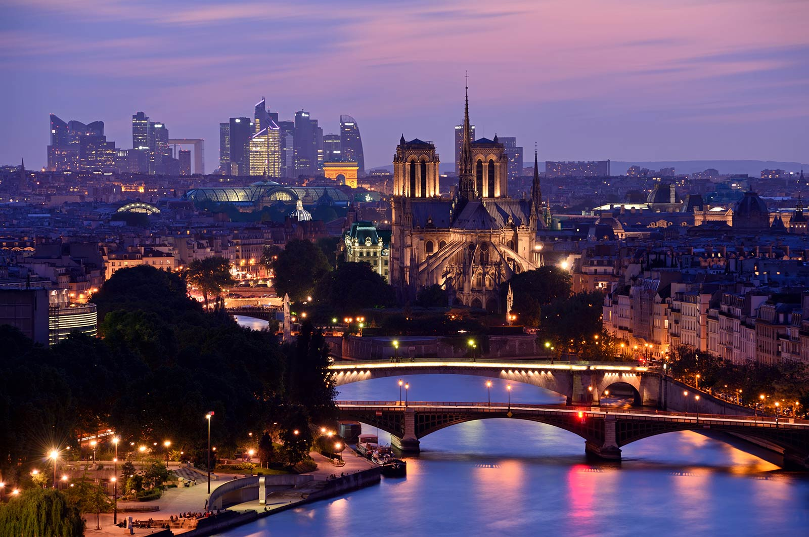 Paris skyline by night