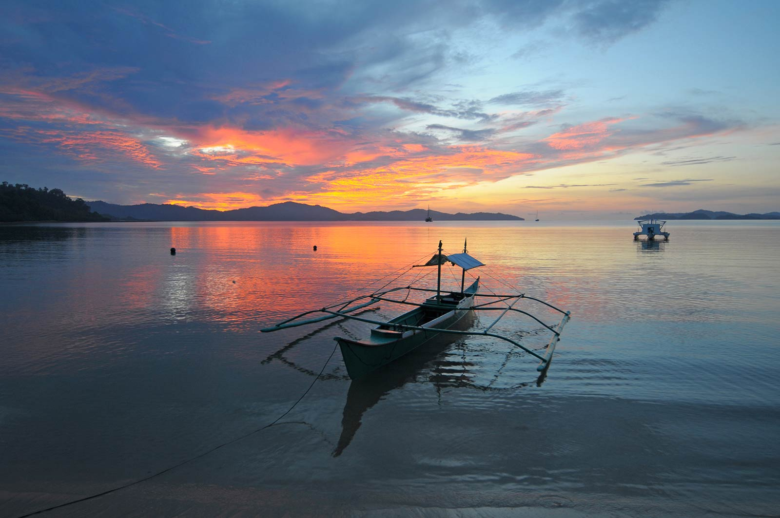 View of boat and the ocean early morning in the Philippines