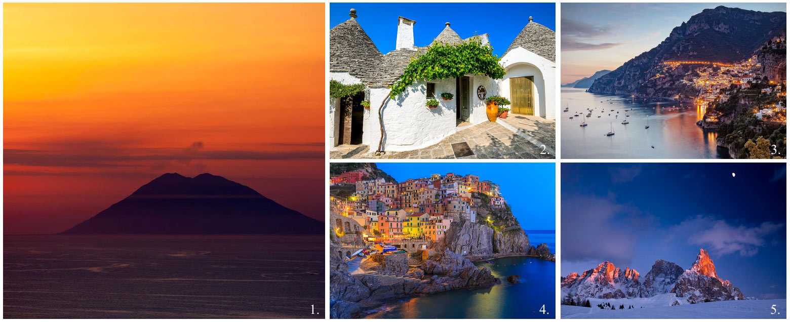 Collage of 5 top UNESCO world heritage sites in Italy incl Amalfi coast, cinque terre, the Dolomites