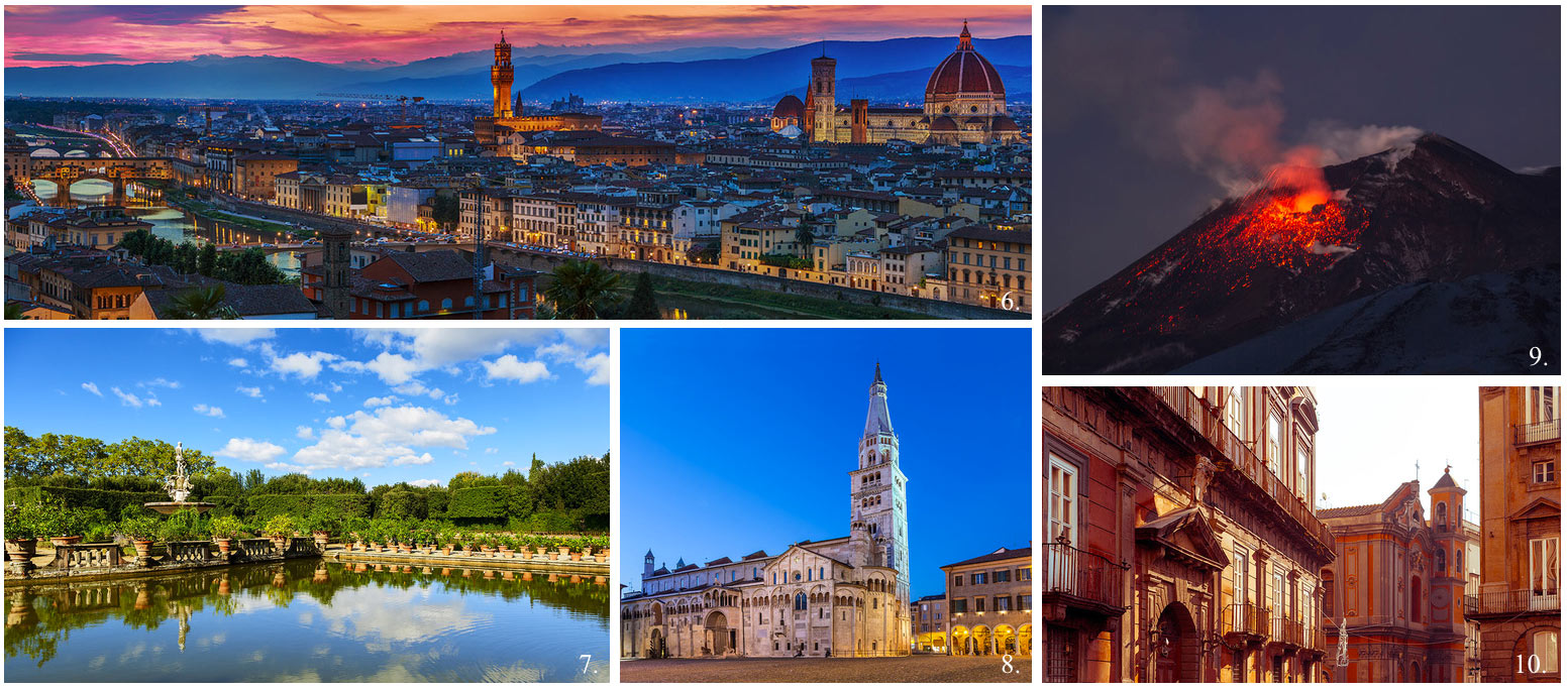 Collage of 5 top UNESCO world heritage sites in Italy incl Florence, Medici Villas, Mount Etna