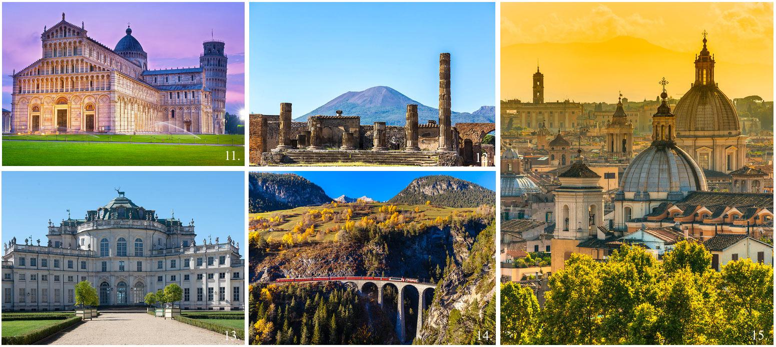 Collage of 5 top UNESCO world heritage sites in Italy incl Pisa, Rome, Pompeii