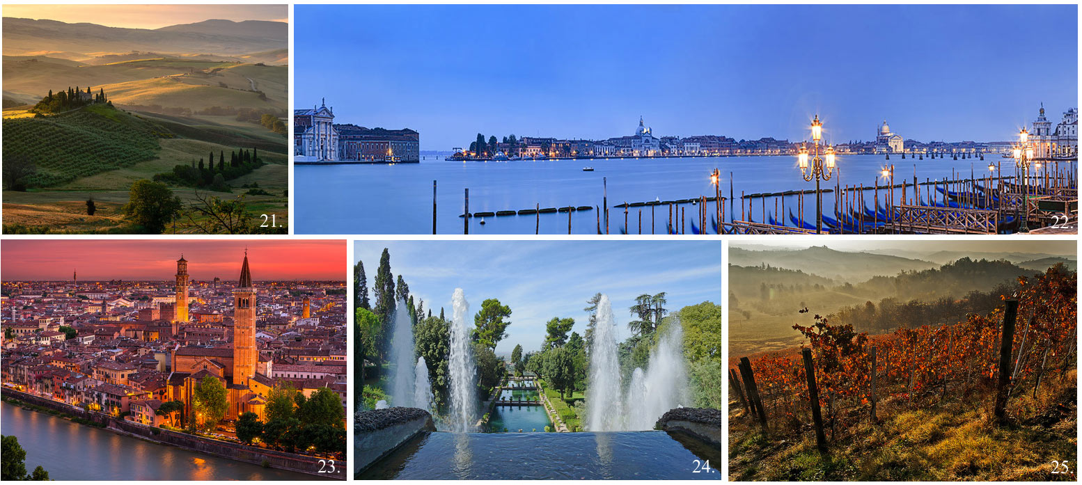 Collage of 5 top UNESCO world heritage sites in Italy incl Venize, Verona, Val d'Orcia