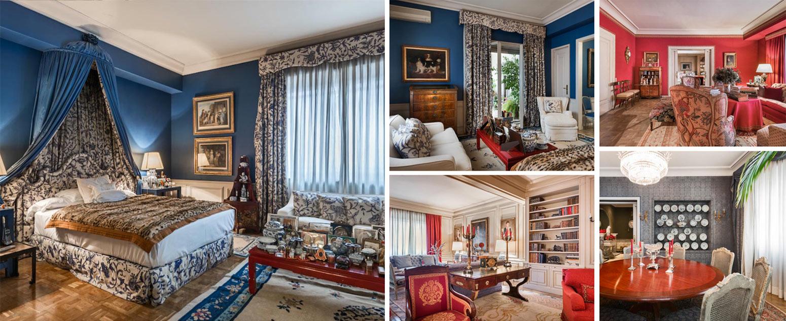 Collage of interiors in grand apartment in exclusive Salamanca area of Madrid