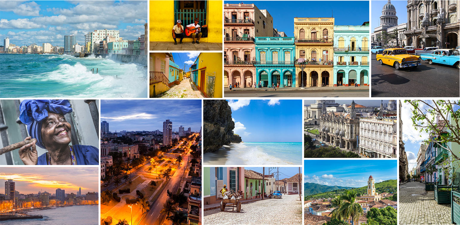 Collage of images of Cuba