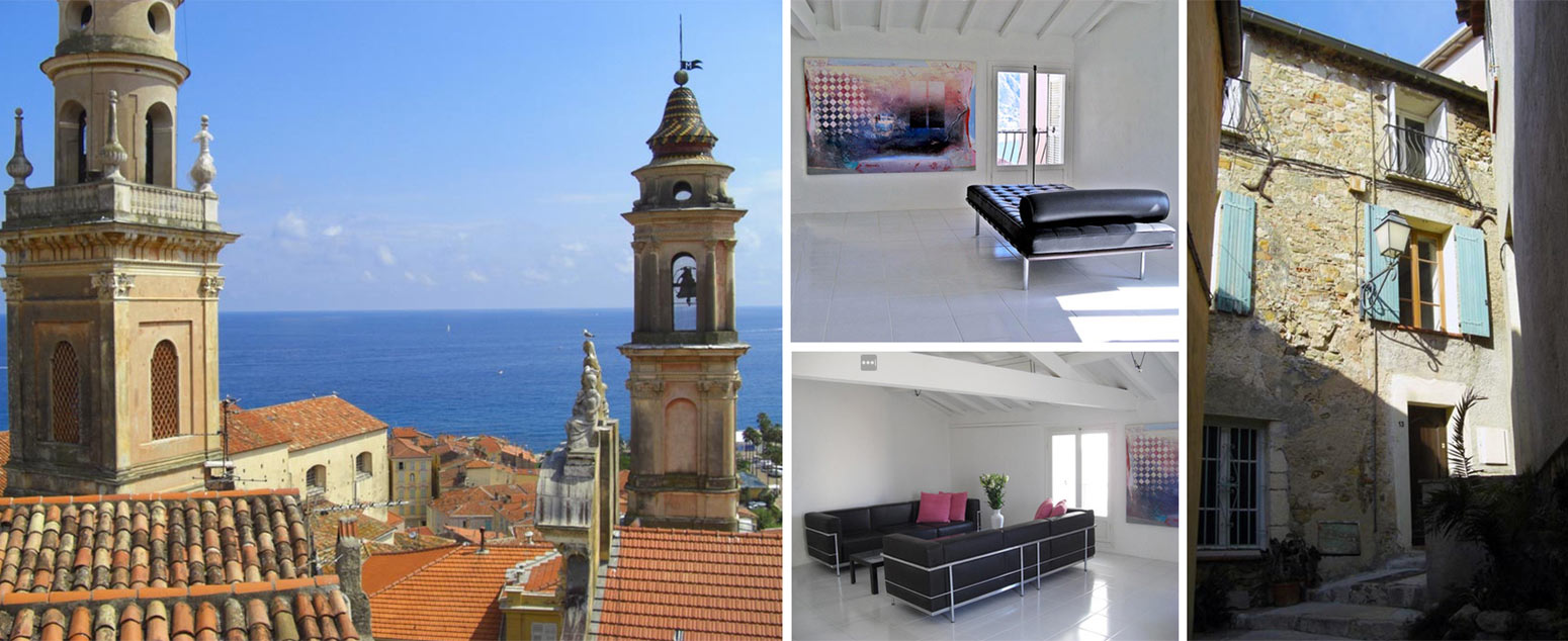 Collage of images from old townhouse for sale in the old town of Menton South of France