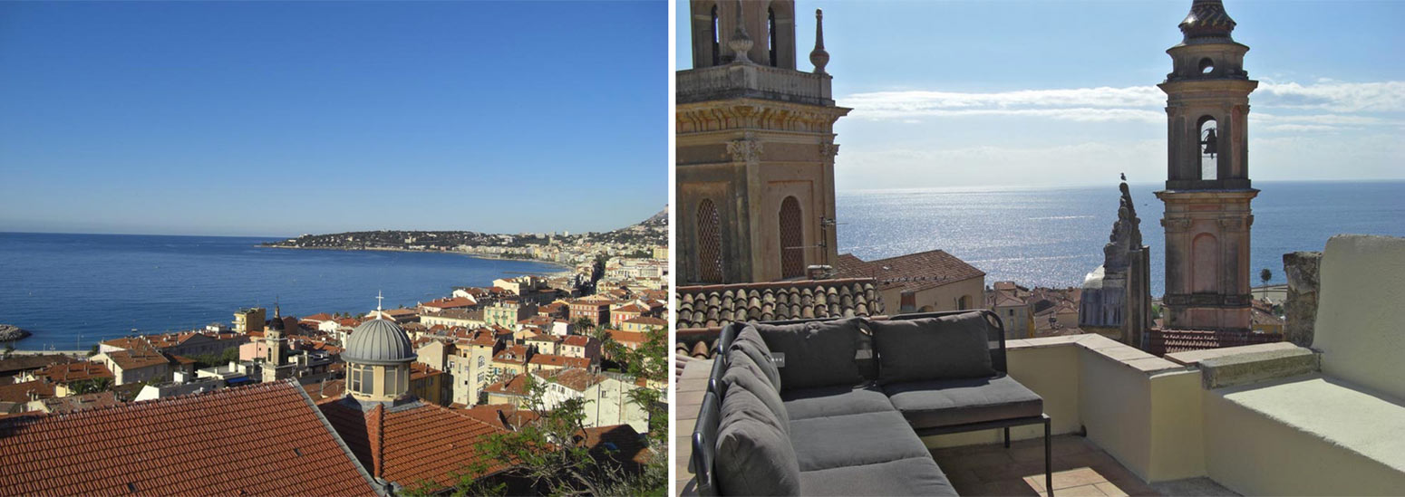 Views from roof terrace of twonhouse for sale in old town of Menton