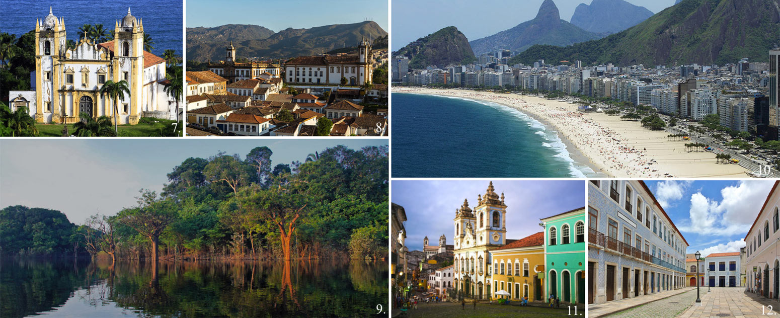 Collage of 6 top UNESCO world heritage sites in Brazil incl. historic town Ouro Preto, Pantanal Wetlands, Salvador de Bahia, Sao Luis