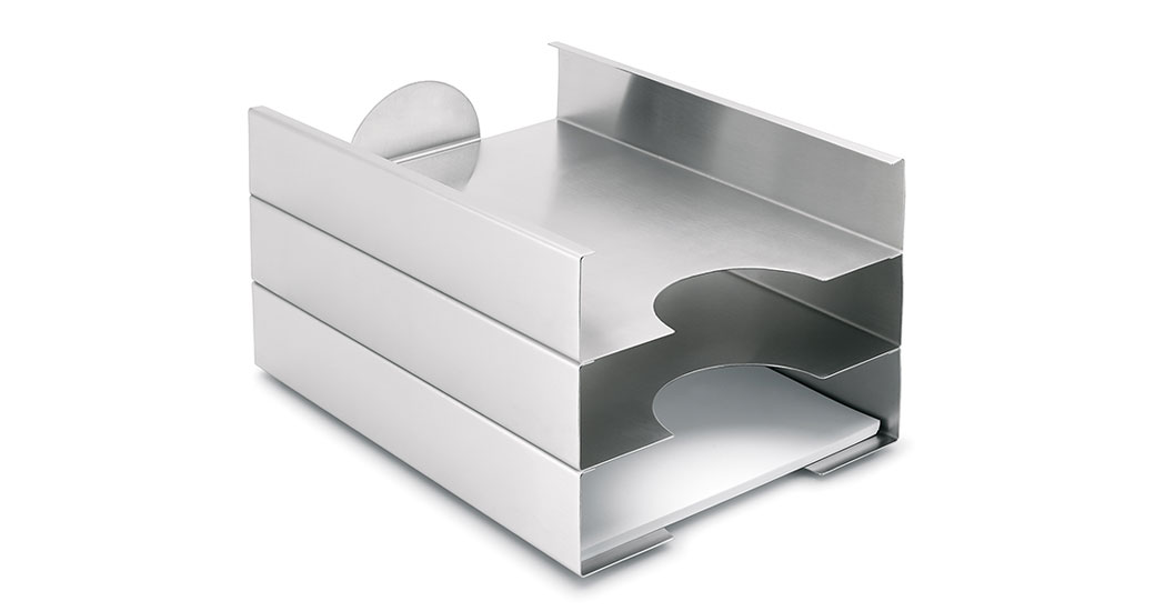 Stylish filing trays in stainless steel from Blomus