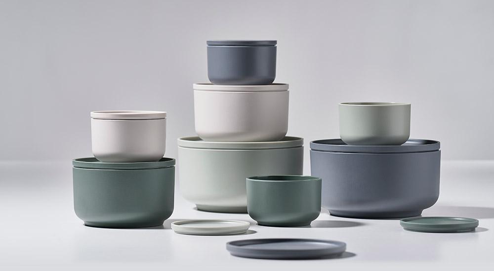 Zone denmark Peili melamine bowls in muted colours