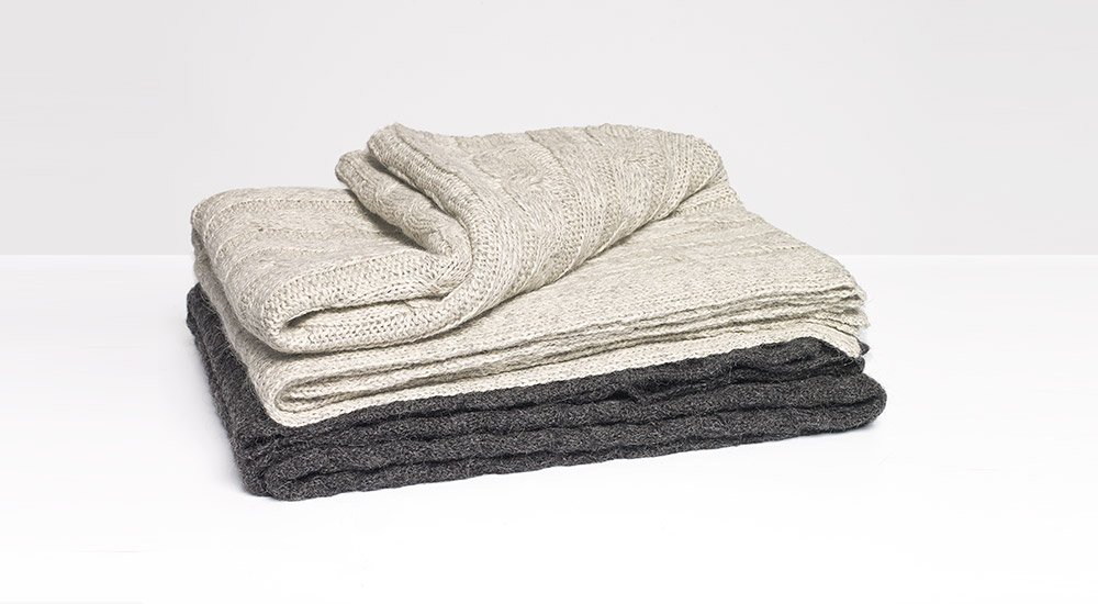 Light and dark grey alpaca throws from Yumeko
