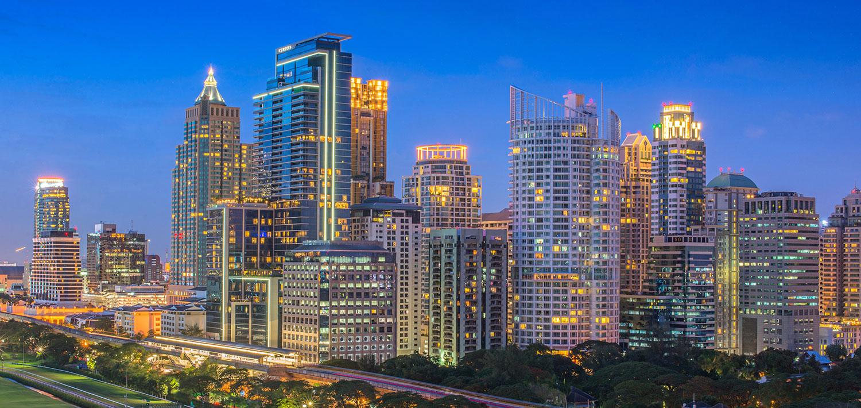 Bangkok skyline in the evening