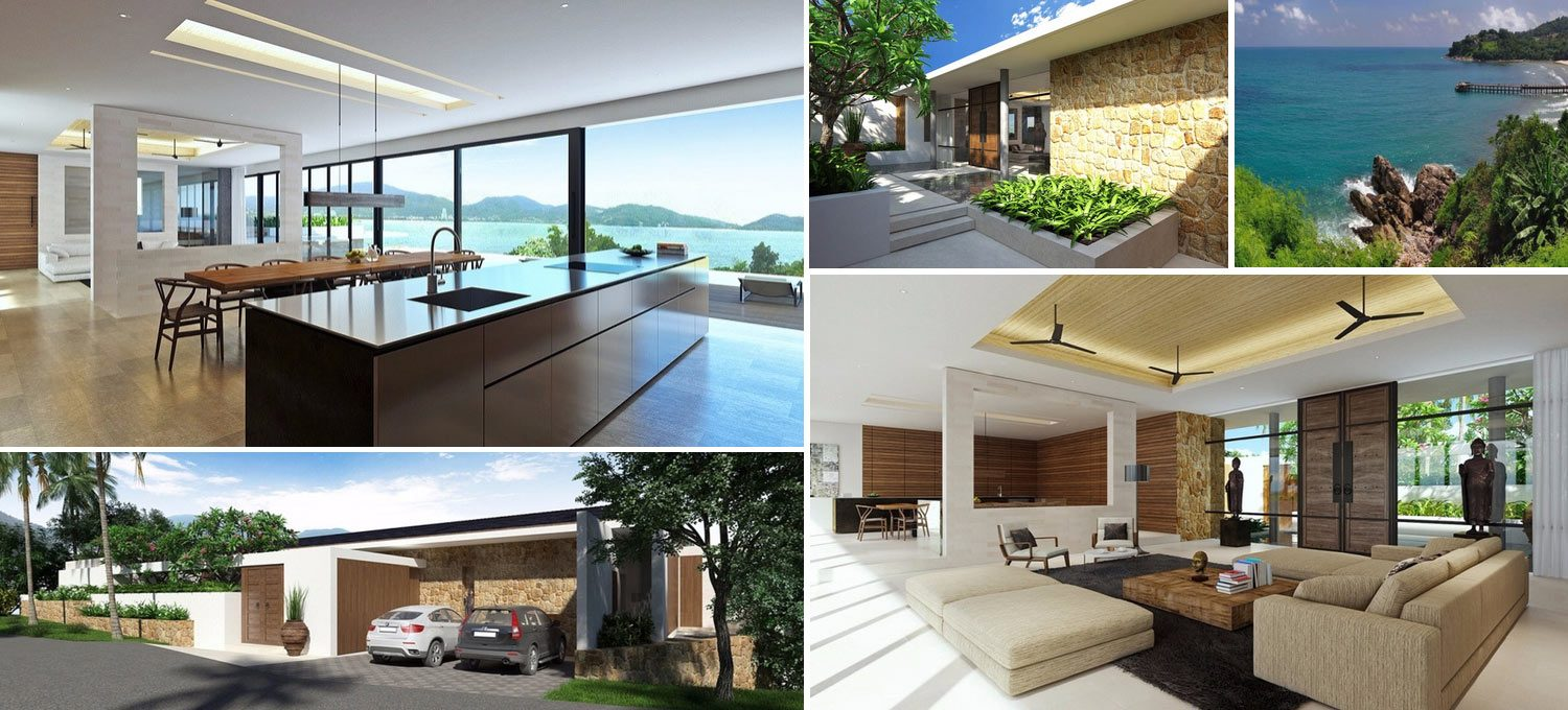 Composition of images of new villa in Kamala Phuket