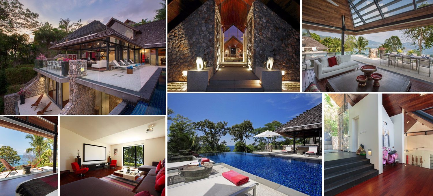 Collage of images of exclusive luxury villa for sale in Kamala Phuket