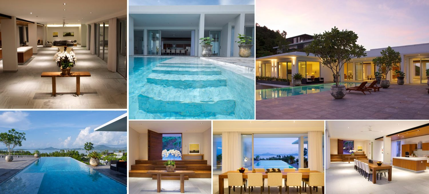Collage images of exclusive and elegant Baan Yamu villa in Phuket