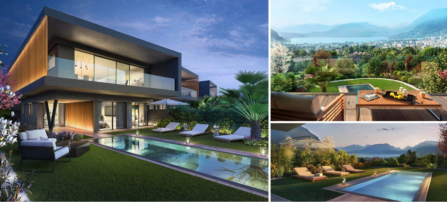 Collage of 3 images exclusive villa in Annecy