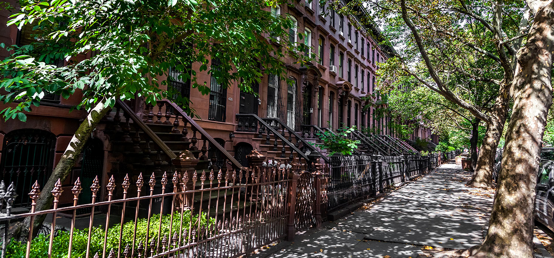Brownstone houses in Brooklyn Heights
