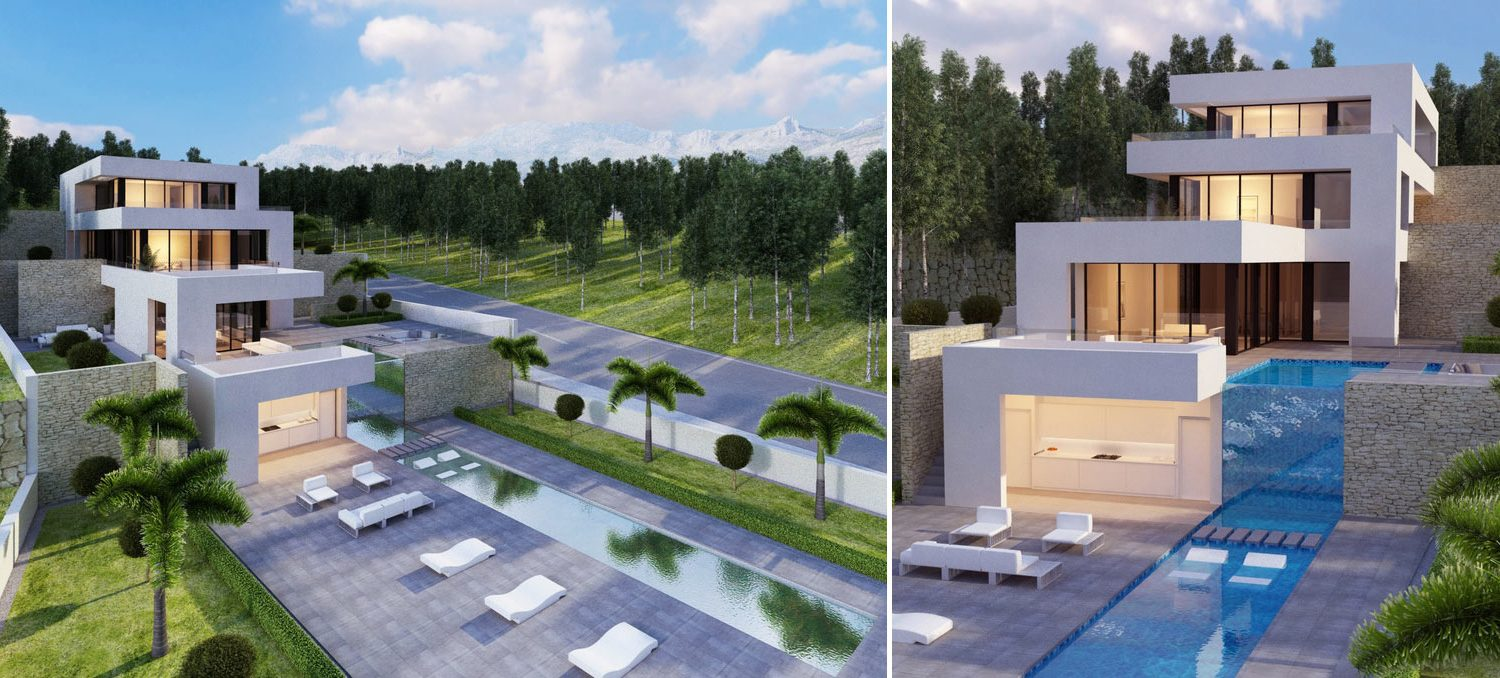 Image composition of two images of villa in Altea